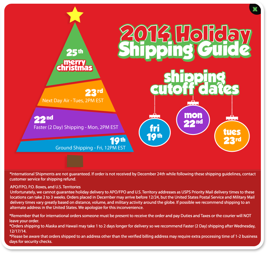 Cookie's Kids Holiday Shipping Cutoff Dates and Guidelines