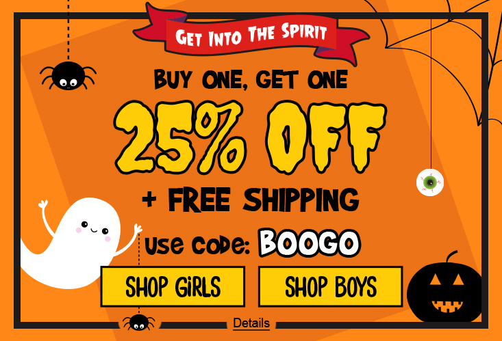 Get Into The Spirit! Buy One, Get One. 25% Off + Free Shipping. Use code: BOOGO. Expires 10/25/2020, 11:59 PM PST.