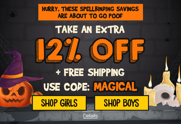 Hurry, For Spellbinding Savings. Take An Extra 12% Off + Free Shipping. Use code: MAGICAL. Expires 10/28/2020, 11:59 PM PST.