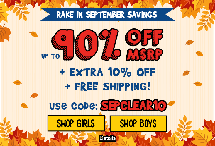 Rake In September Savings Up To 90% Off MSRP + Extra 10% Off + Free Shipping. Use code: SEPCLEAR10. Expires 9/30/2020, 11:59 PM PST.