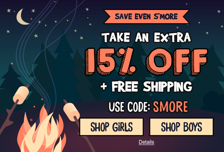 Save Even S'More. Take An Extra 15% Off + Free Shipping. Use code: SMORE. Expires 7/10/2020, 11:59 PM PST.