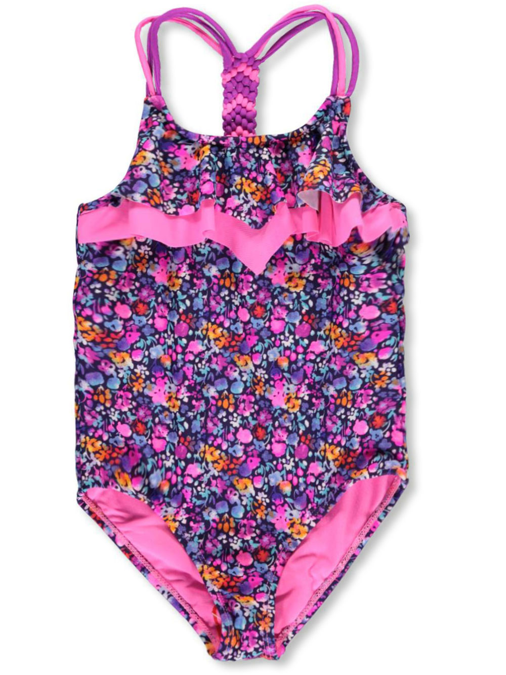 Image of Vigoss Big Girls Aquamarine 1Piece Bathing Suit Sizes 7  16  purplemulti 1012