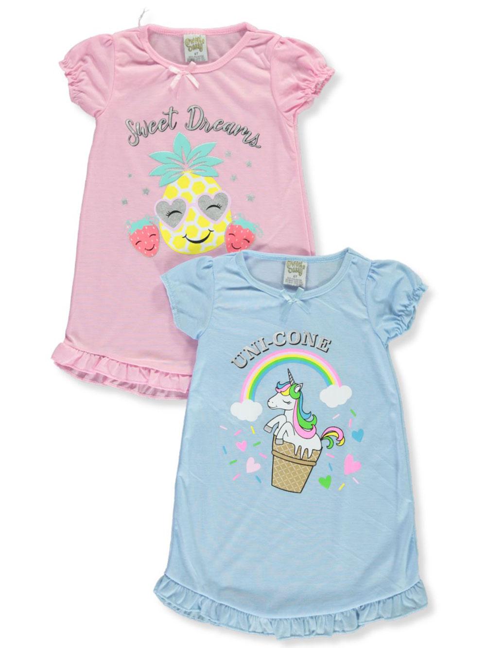 4 Pack Sweet /& Sassy Girls Short Sleeve Nightgown Pajamas
