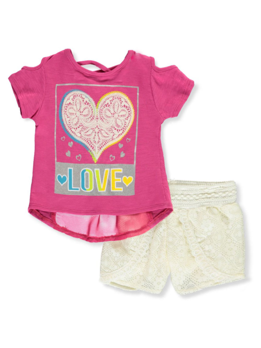 Girls Fuchsia and Multicolor Short Sets
