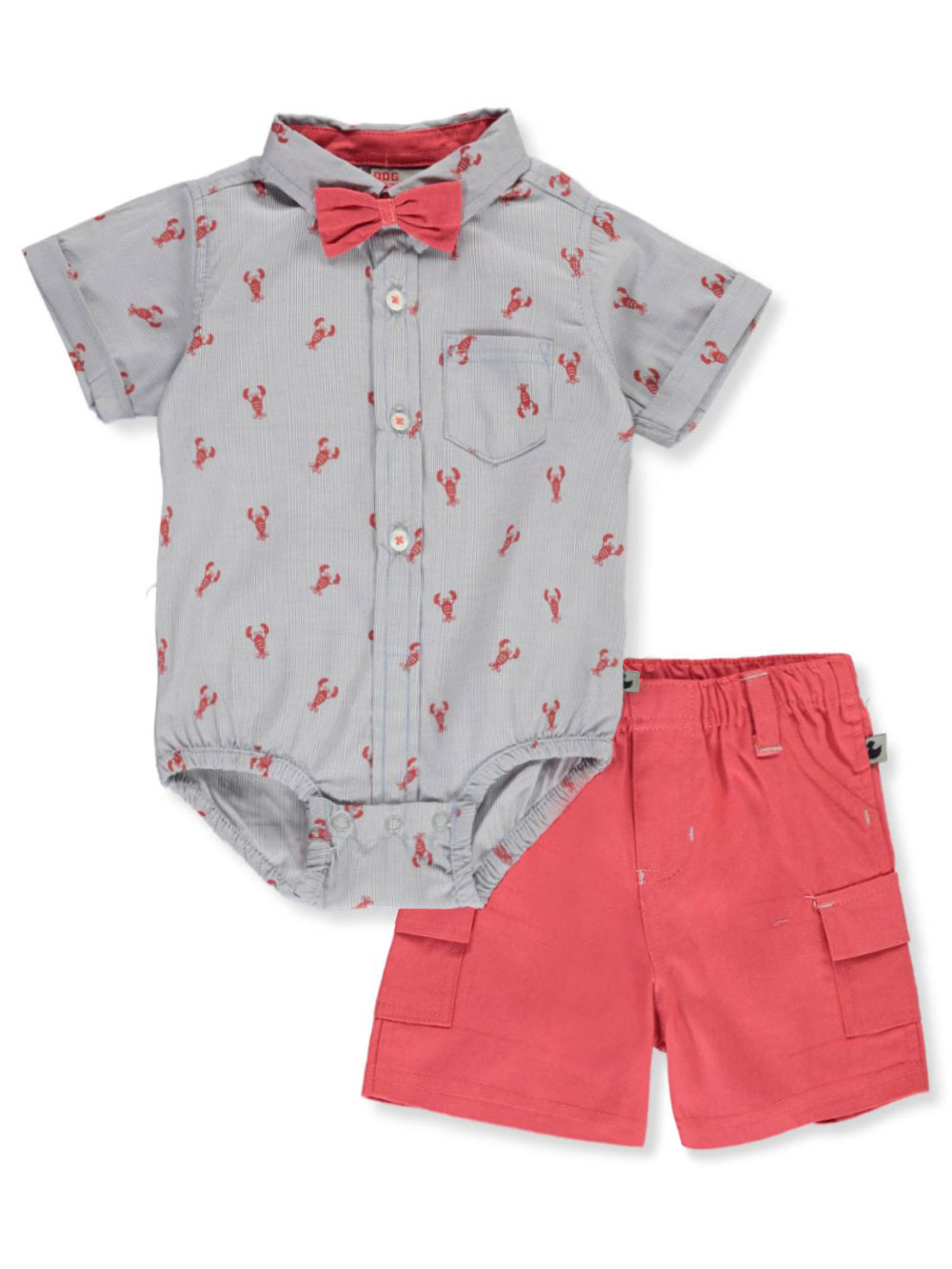 Boys Gray Multicolor Short Sets