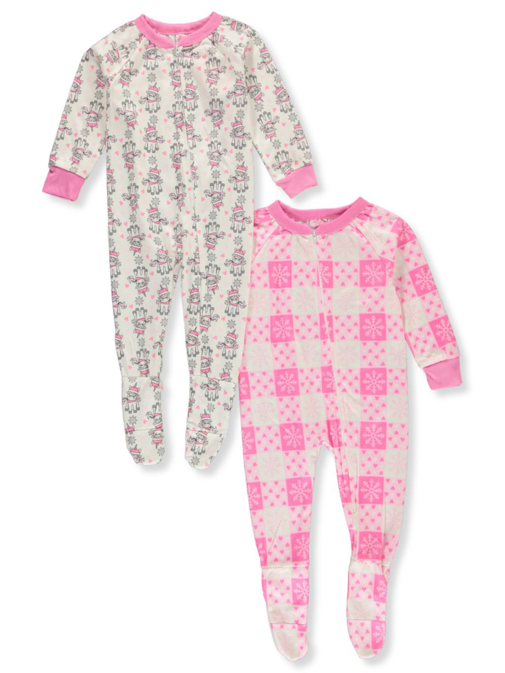 Girls Fashion 2-Pack Footed Pajama Suits