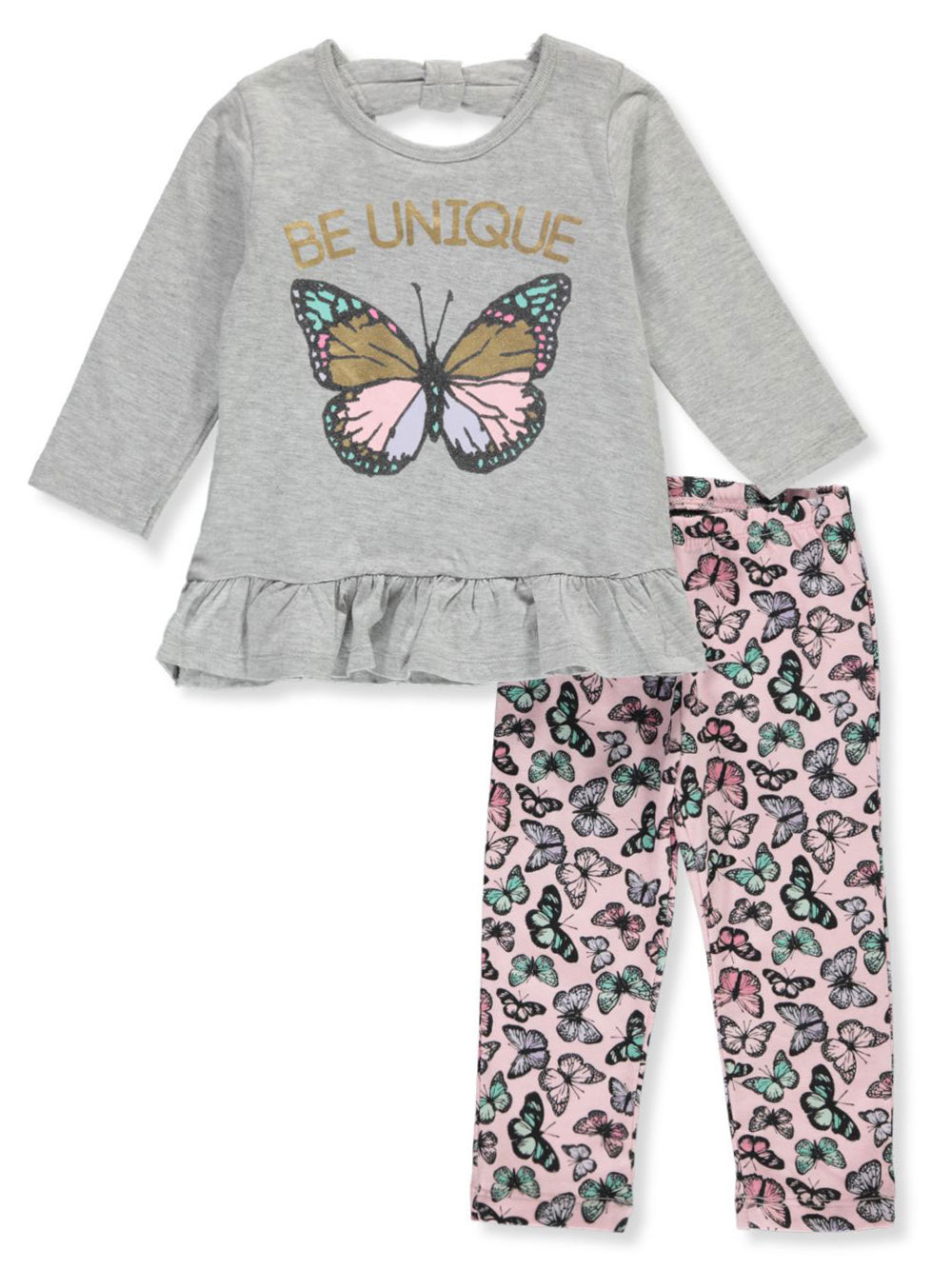 Girls Gray Multicolor Pant Sets