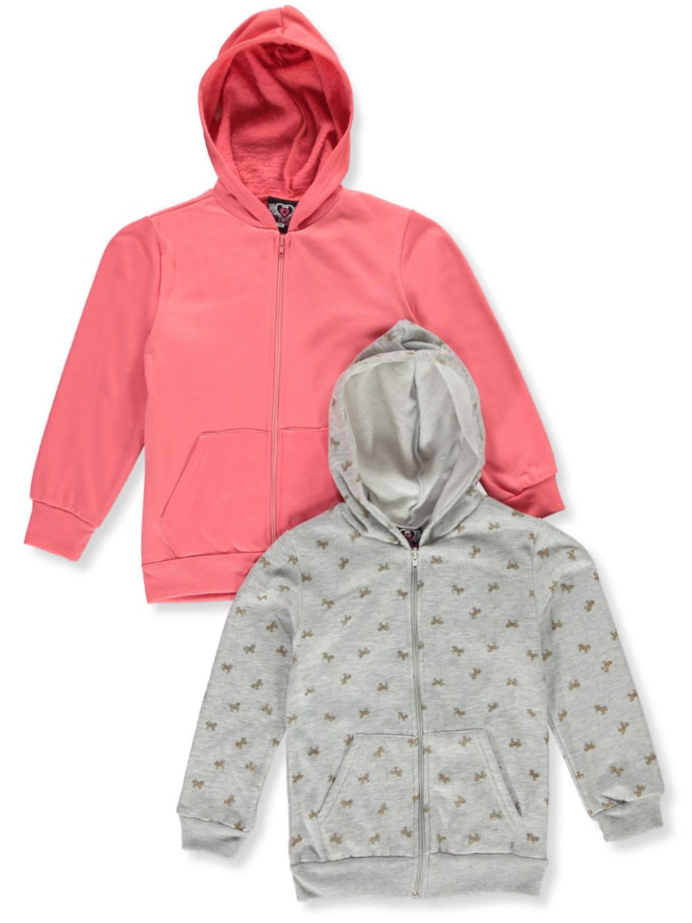 Girls' 2-Pack Zip Hoodies