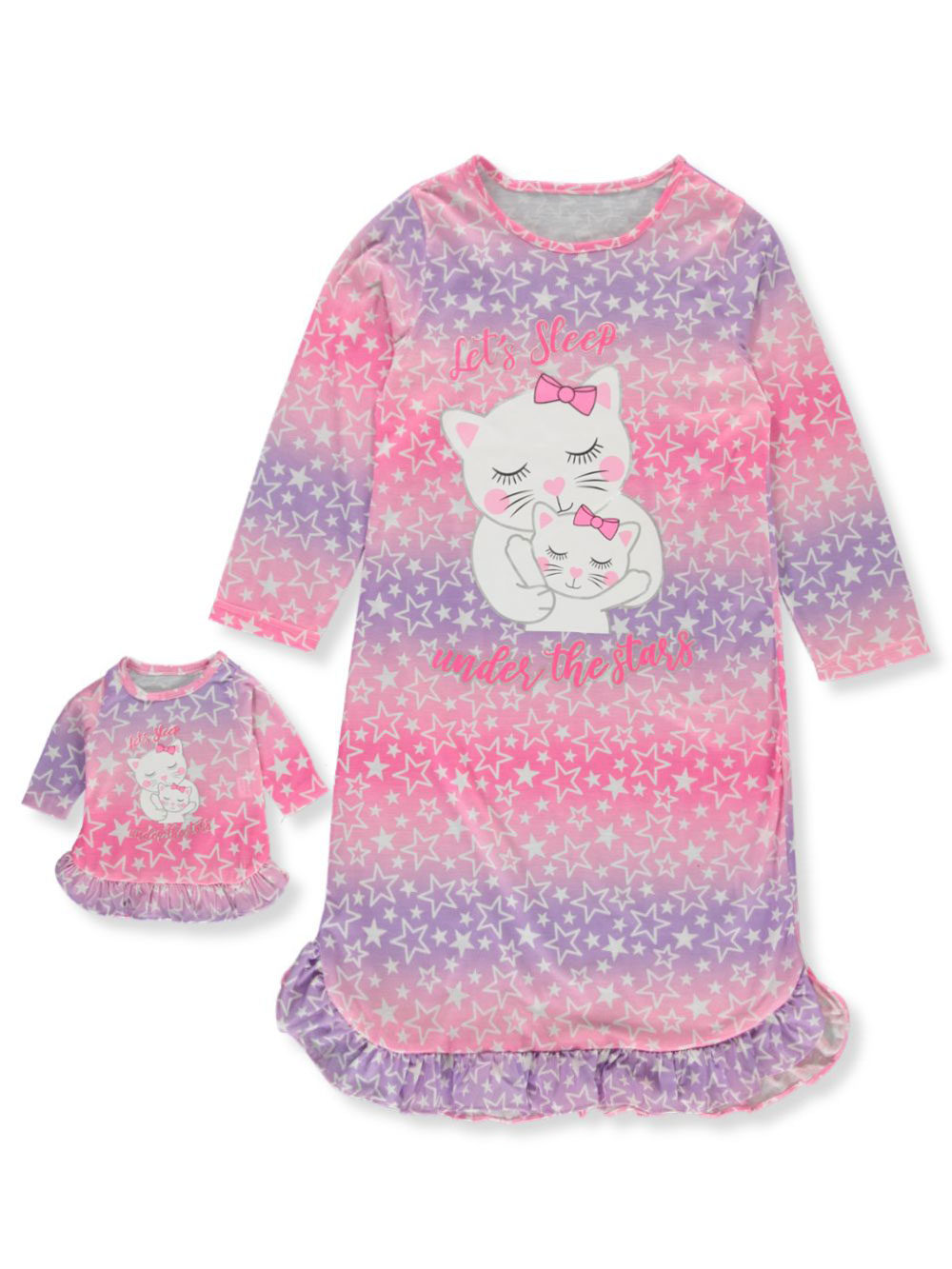 Girls Fashion Nightgown with Doll Outfit