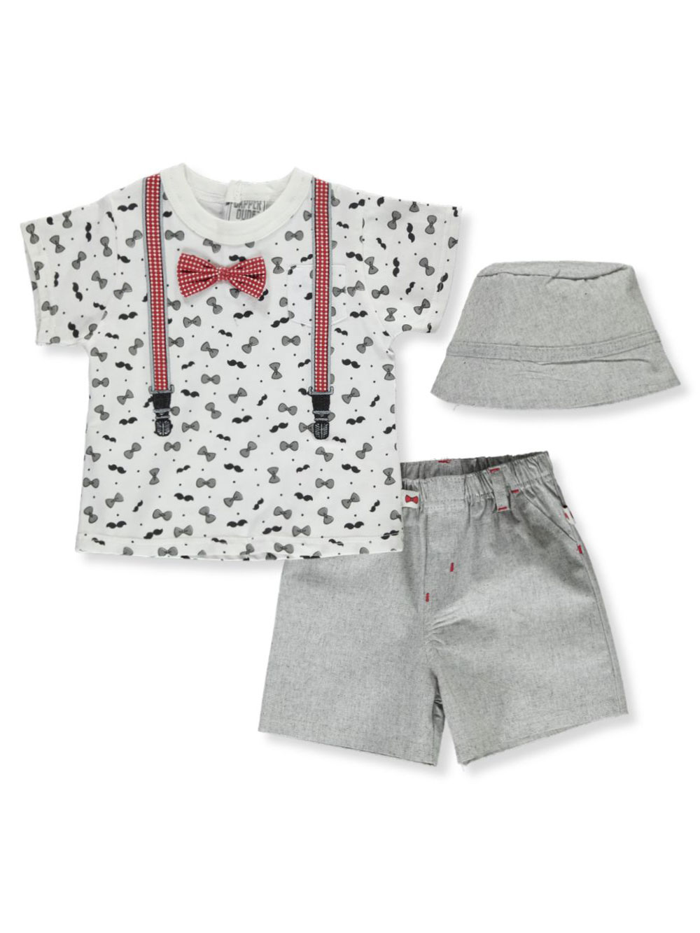 Boys White and Red Short Sets