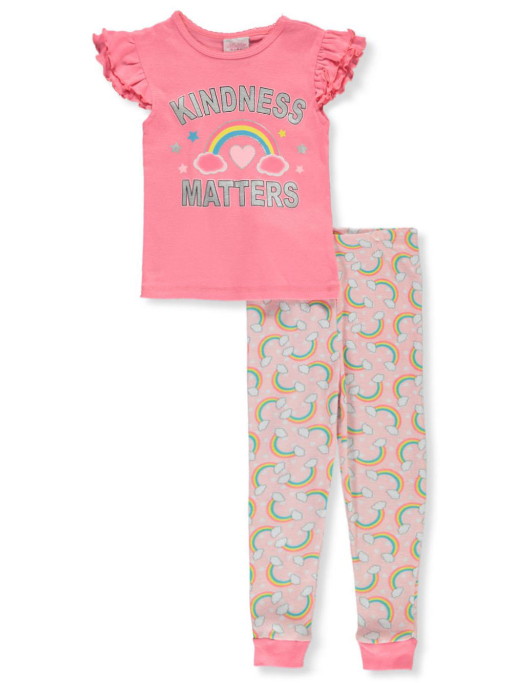Girls White and Multicolor Pajamas