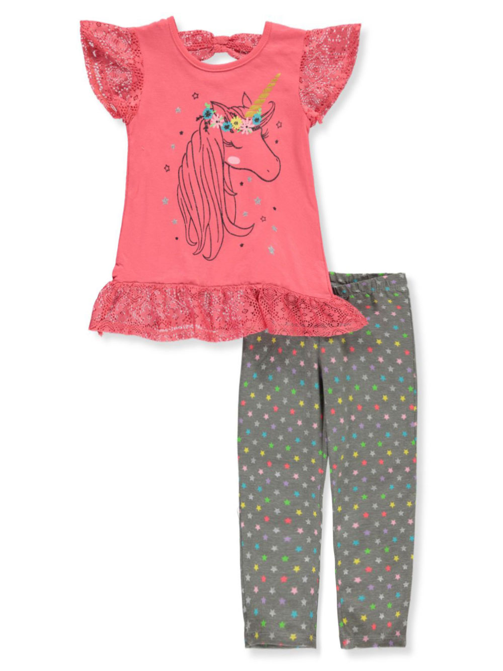 Girls Fuchsia and Multicolor Pant Sets