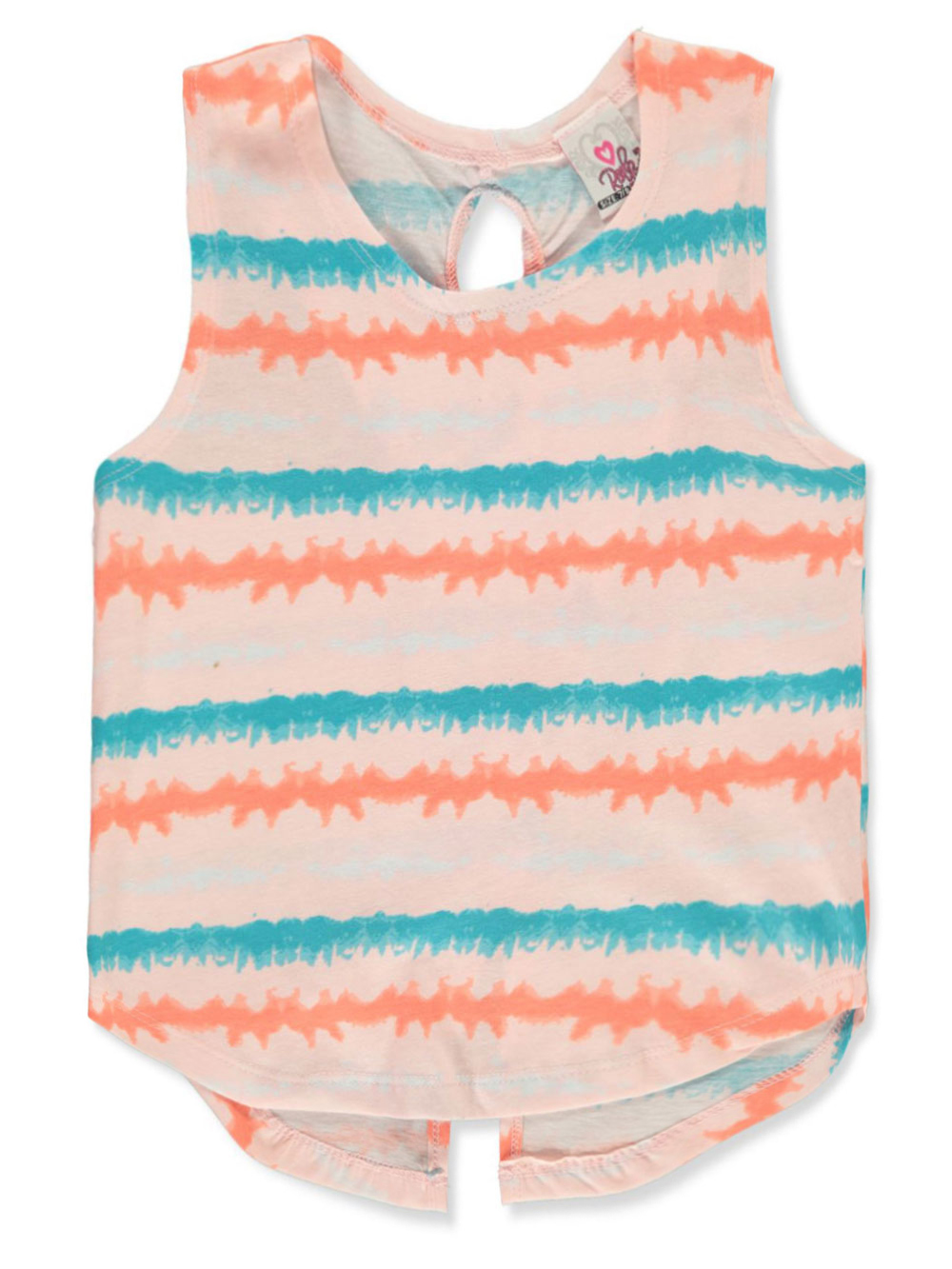Girls White And Multicolor Tank Tops