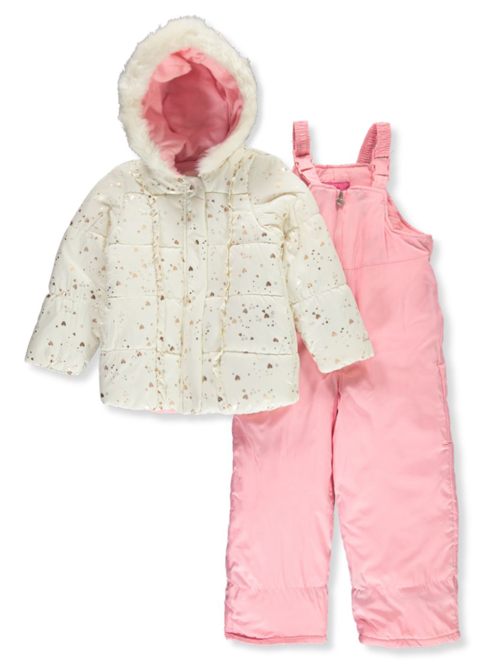 Girls Ivory and Pink Snowsuits