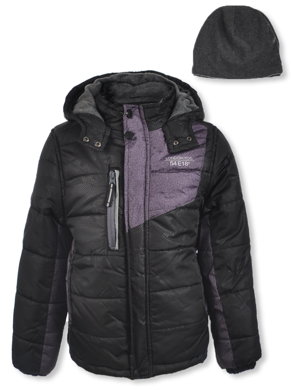 Shoulder Panel Insulated Jacket with Beanie