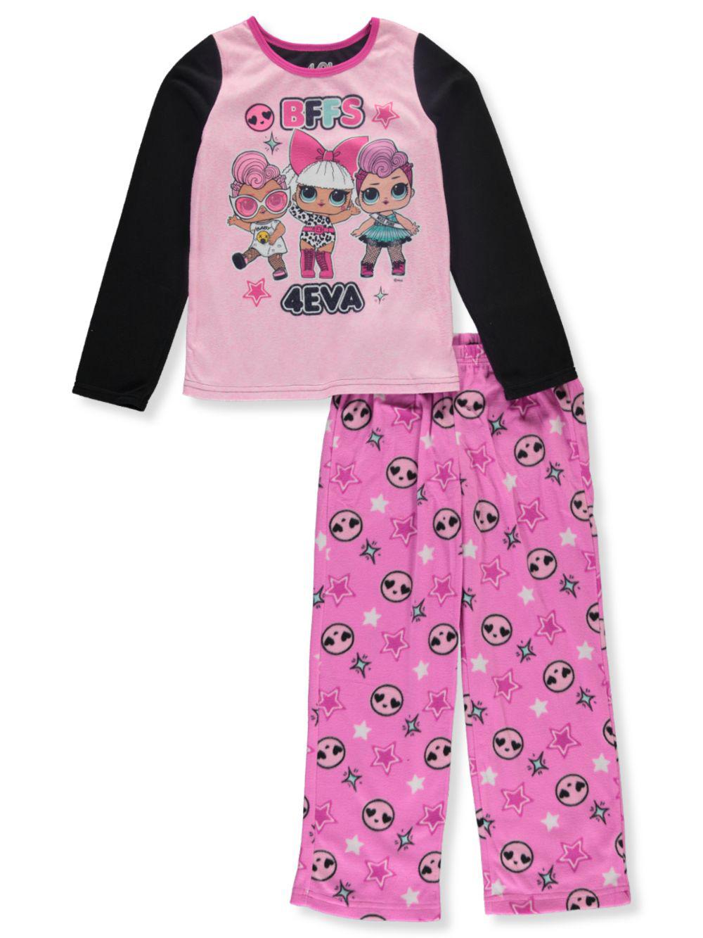 Short Sleeve Shirt and Shorts Set 100/% Polyester,Girls Sizes 4//5 to 10//12 Surprise L.O.L Girls 2 Piece Pajama Set
