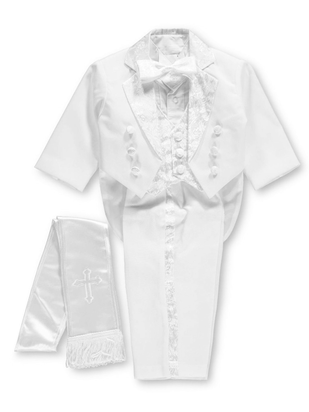 Pretty Me Embroidered 6-Piece Christening Tuxedo (Sizes 6M - 24M) - white, 6 months