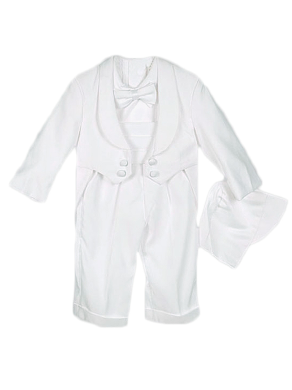 Image of Kaifer 5Piece Christening Tuxedo Sizes 9M  24M  white 24 months