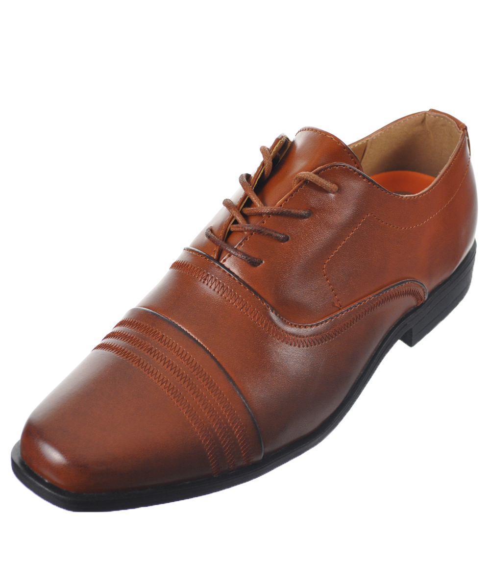 Image of Jodano Collection Boys Triple Stitch Dress Shoes Youth Sizes 5  8  cognac 7 youth