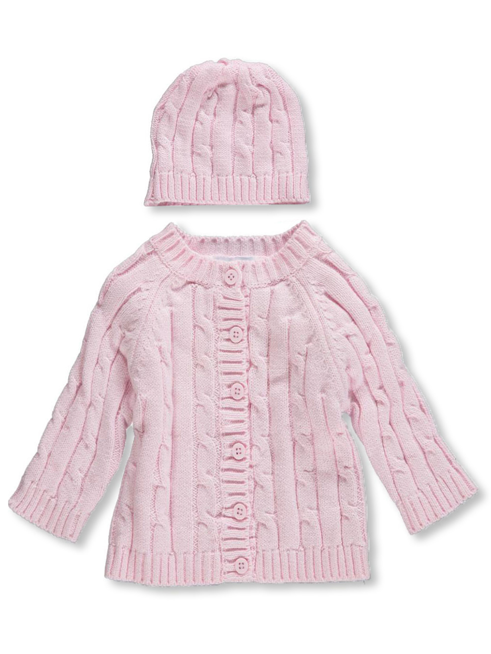 Baby Dove Girls Cable Knit Cardigan & Beanie Set (Sizes 3M - 9M) at Sears.com