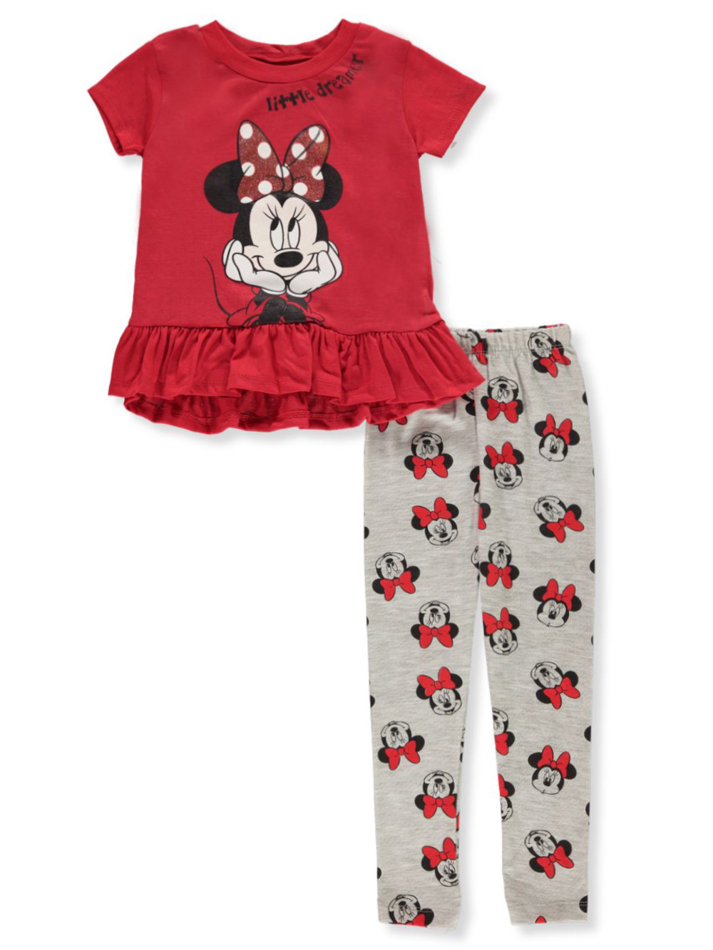 Girls Red and Multicolor Pant Sets