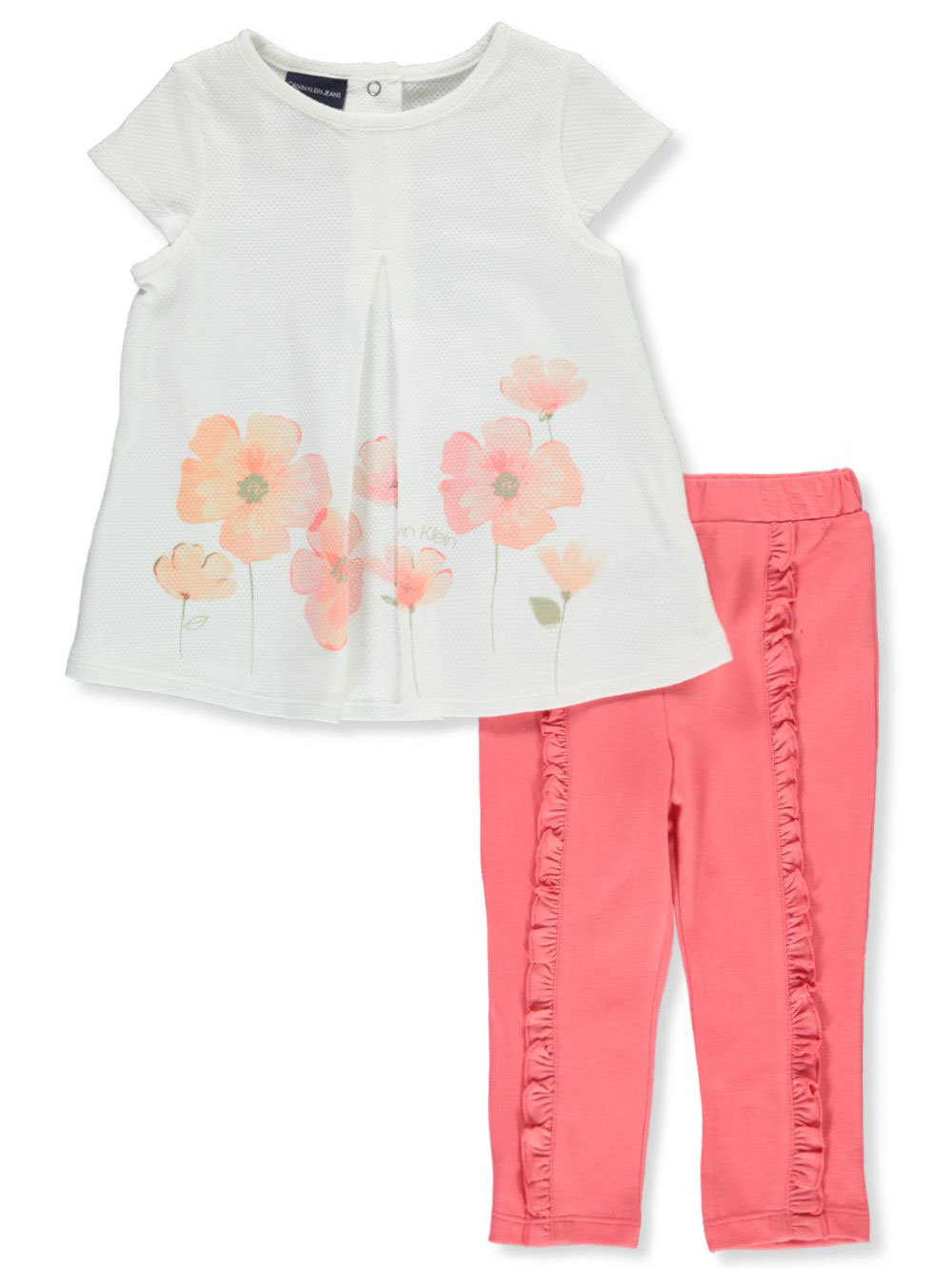 Girls White and Coral Pant Sets