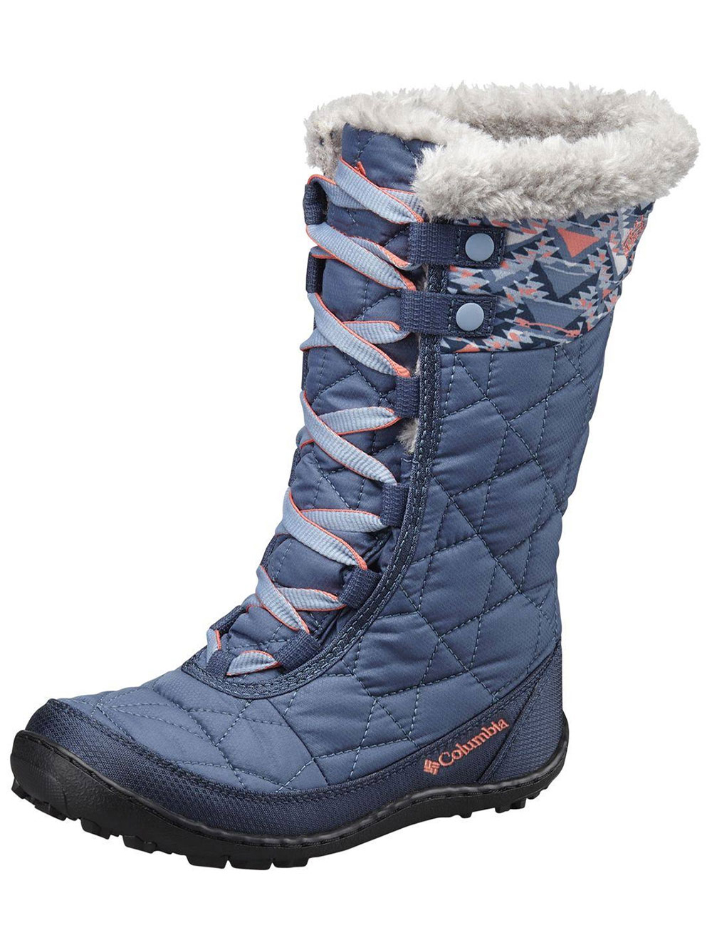 Image of Columbia Girls Minx Mid II Waterproof OmniHeat Boots Youth Sizes 1  7  dark mountain 6 youth