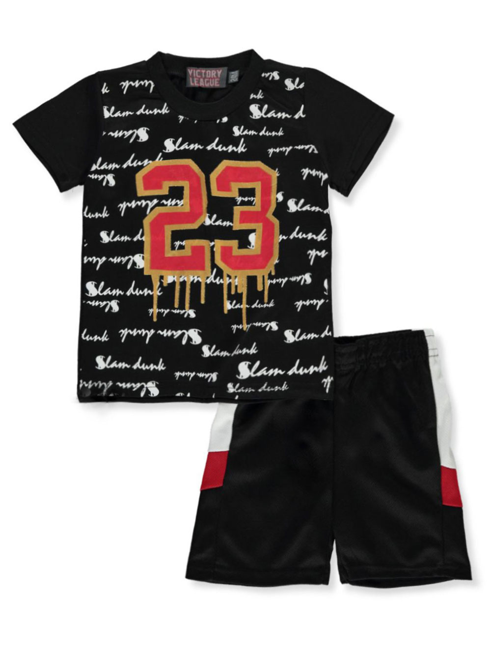 Boys Red and Multicolor Short Sets