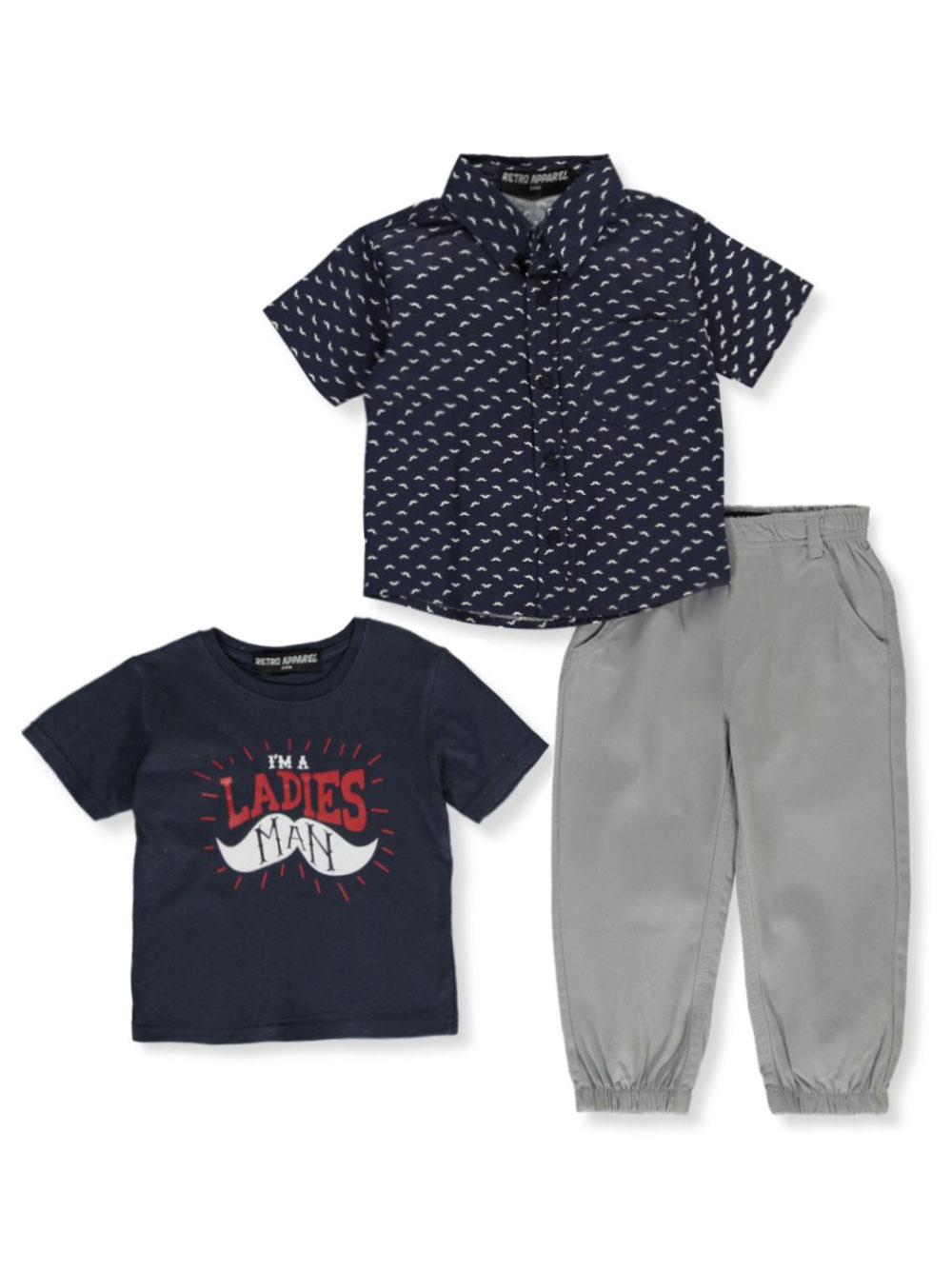 Boys White and Gray Pant Sets