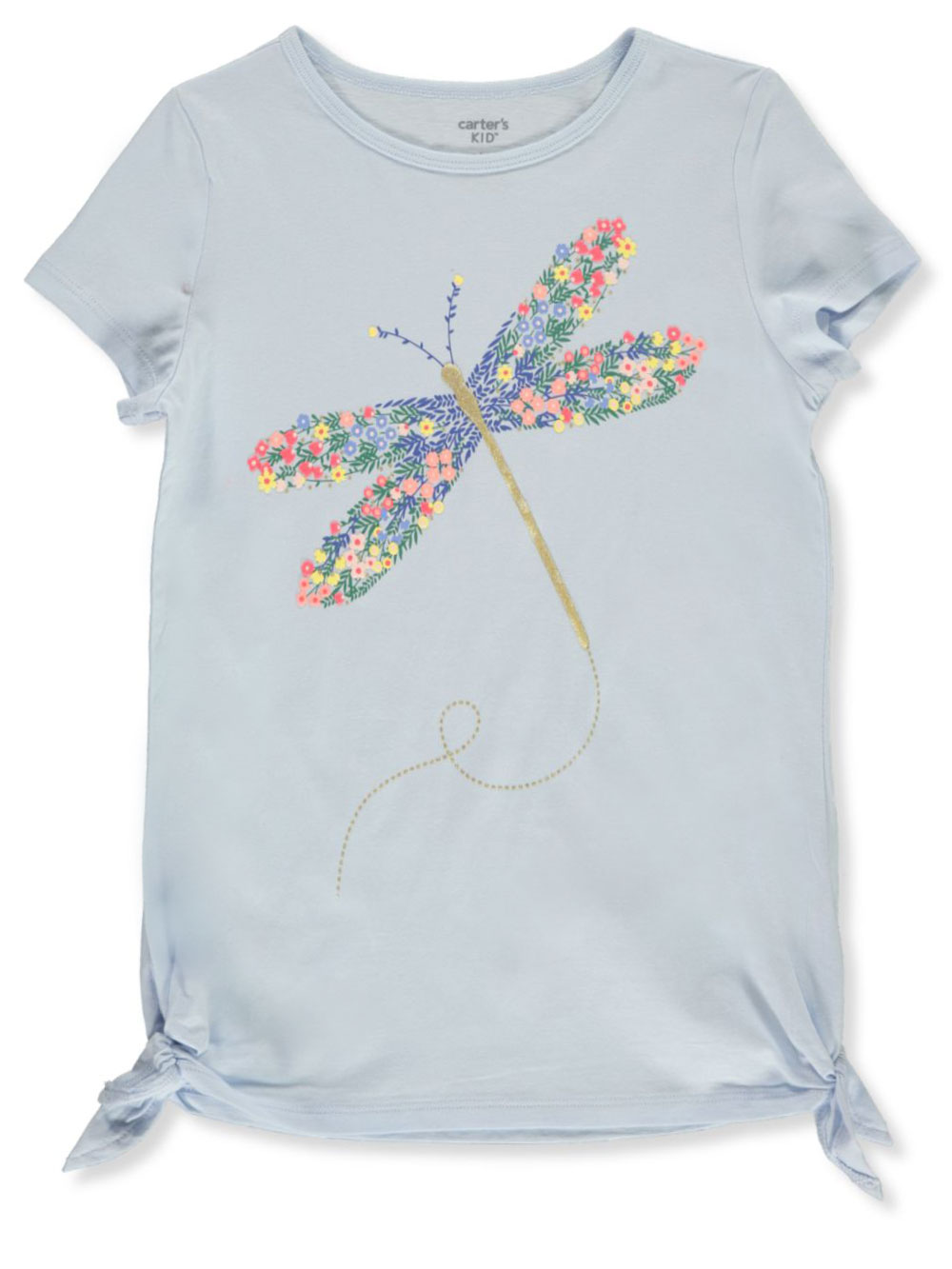 Fashion Tops Floral Glitter Dragonfly Graphic