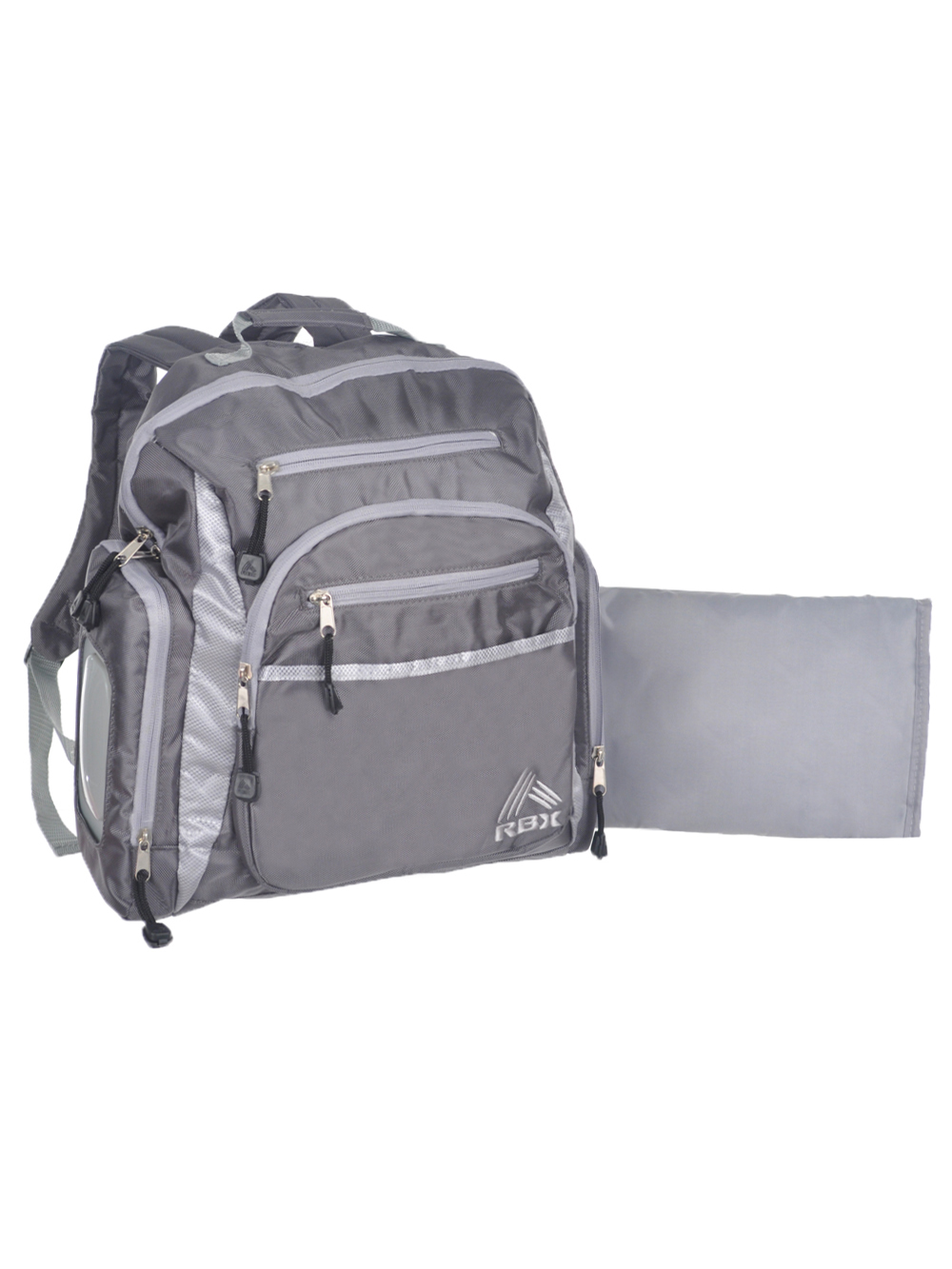 RBX Large Backpack Diaper Bag with Changing Pad - gray, one size