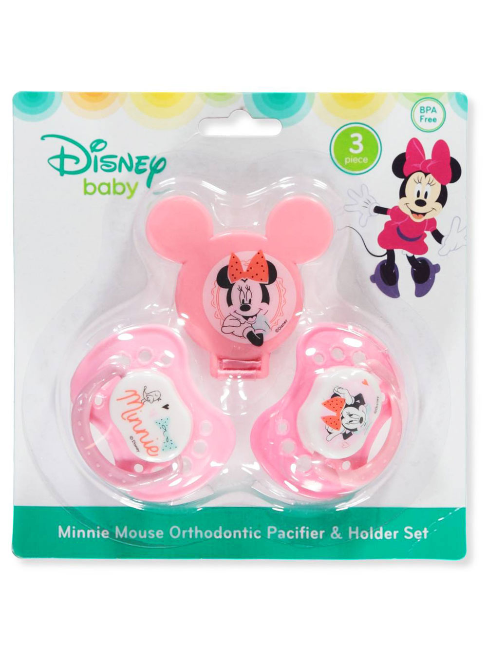 Pink and Multicolor Pacifiers