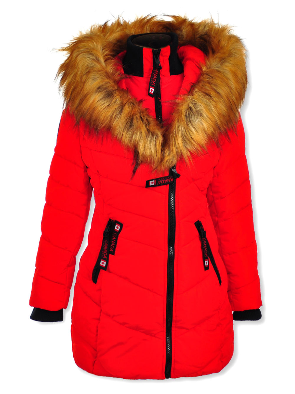 Insulated Parka with Faux Fur Collar