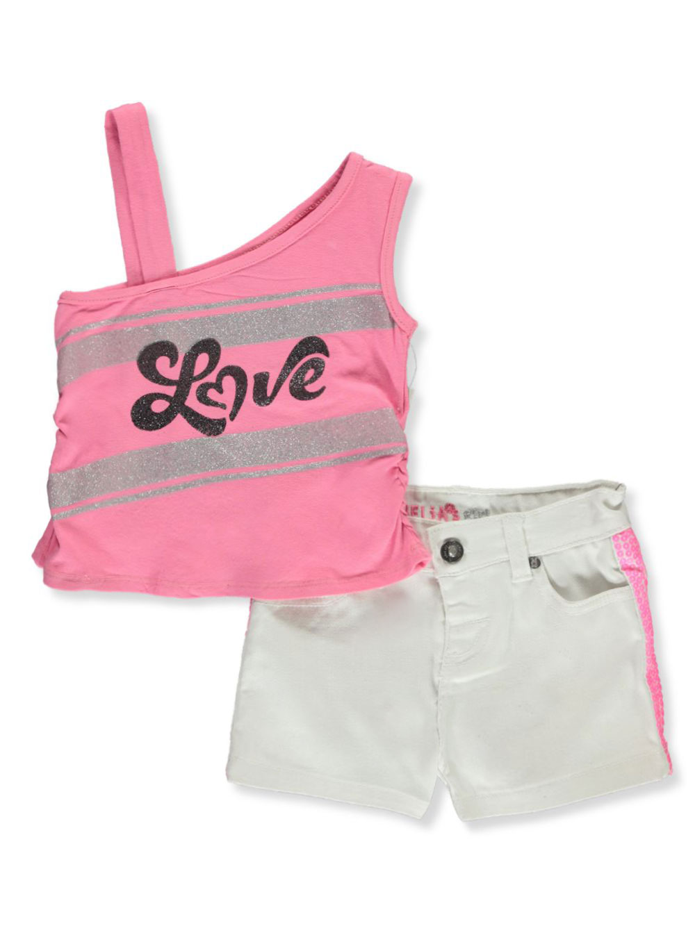 Girls White and Multicolor Short Sets