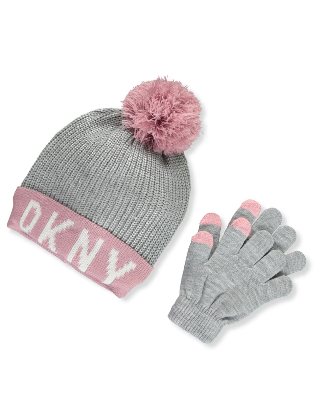 0d3e42ffd Girls' Knit Hat & Tech Touch Gloves Set by DKNY in charcoal gray and  gray/pink