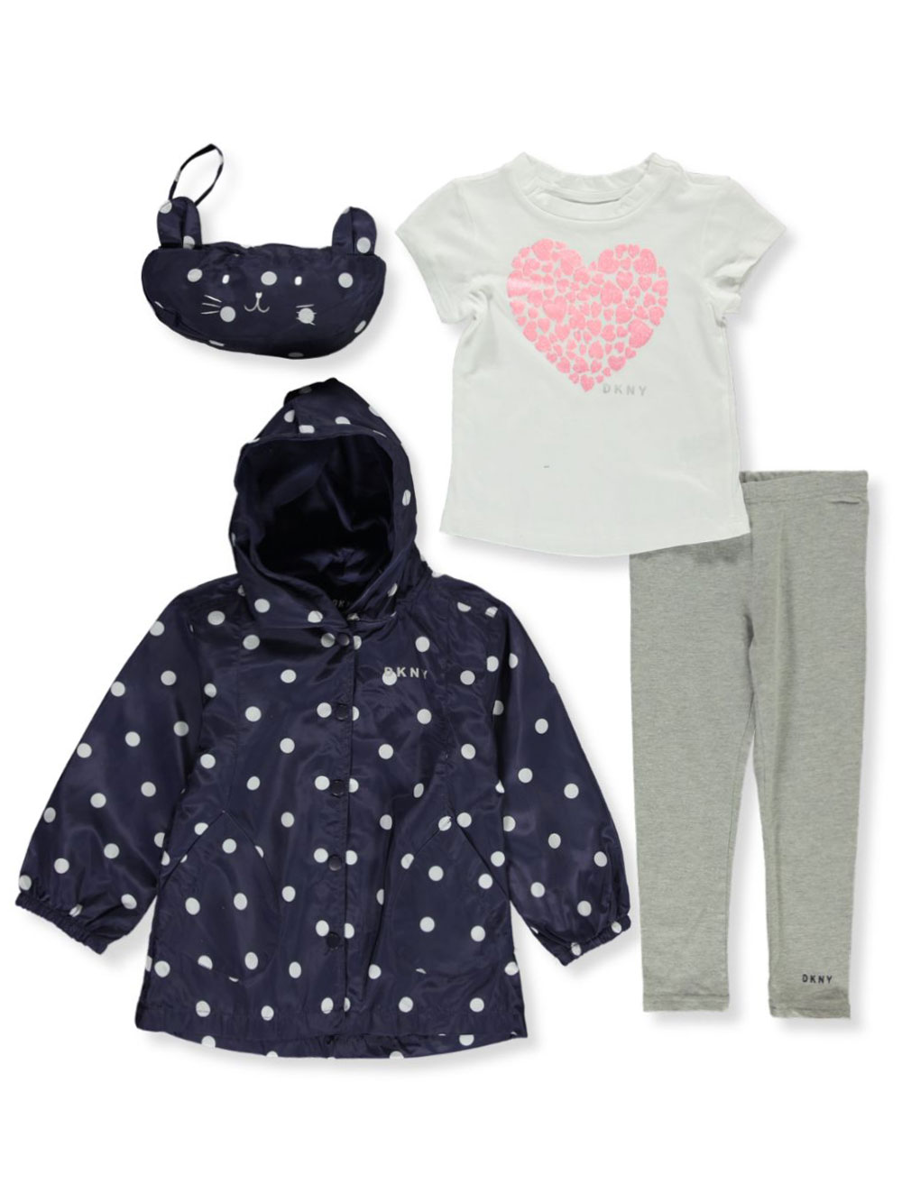 Girls' 4-Piece Raincoat Set Outfit