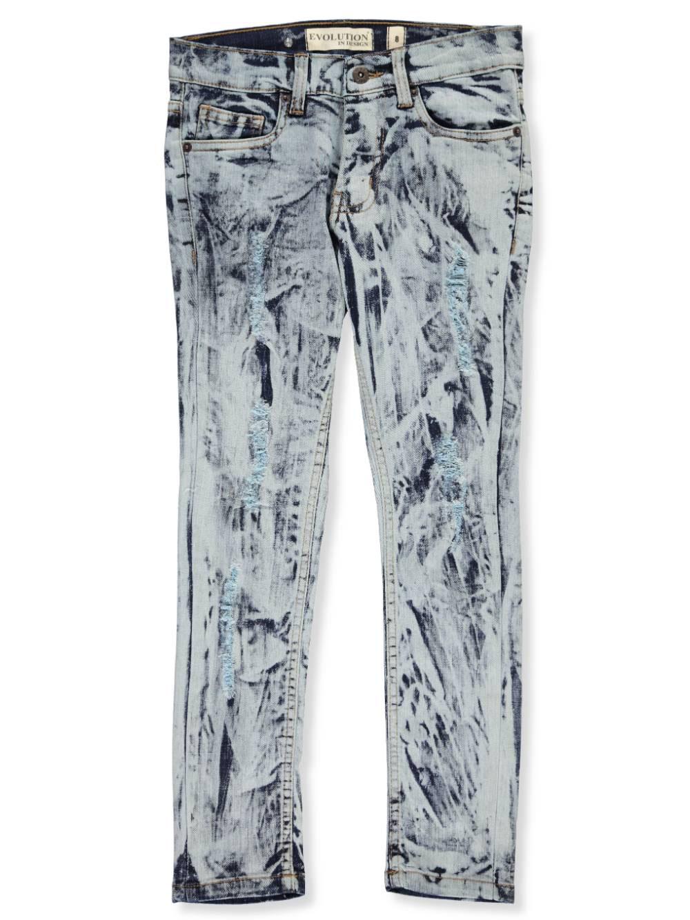 Evolution In Design Boys Distressed Stitch Slim Jeans