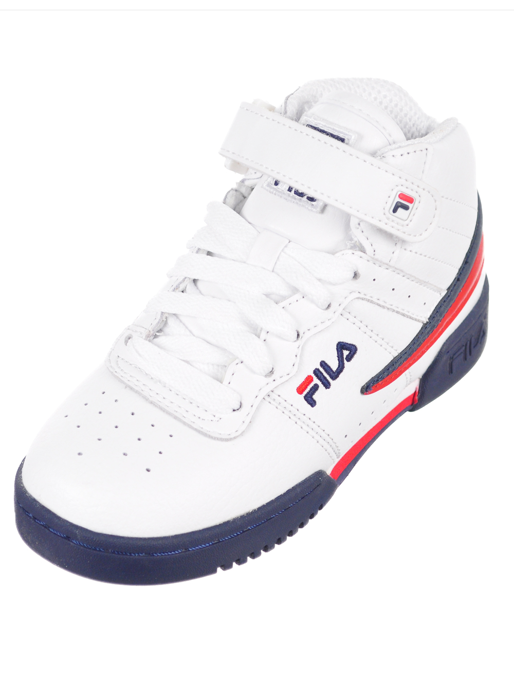 Boys' F 13 Hi Top Sneakers by Fila in Whitenavyred