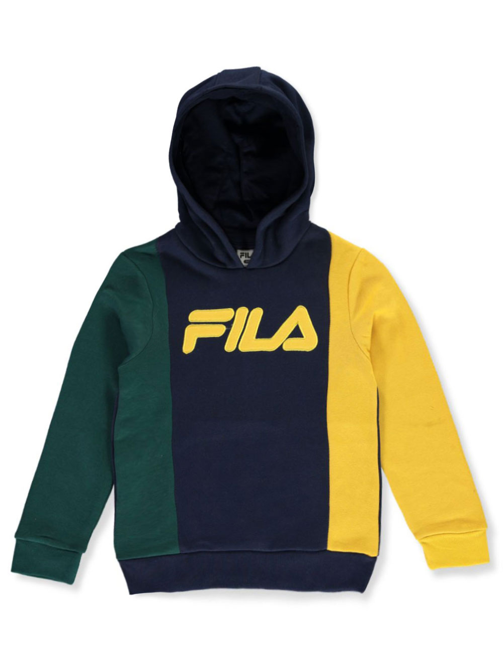 Vertical Tricolor Pullover Fleece Hoodie by Fila in citrus and navy
