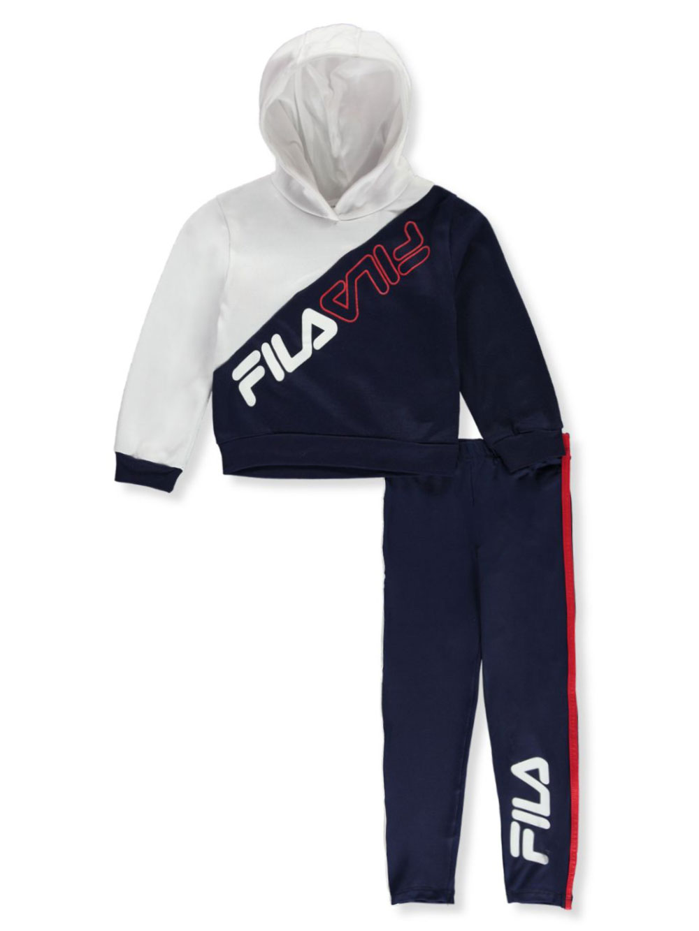 Angled Split Block 2 Piece Leggings Set Outfit by Fila in White