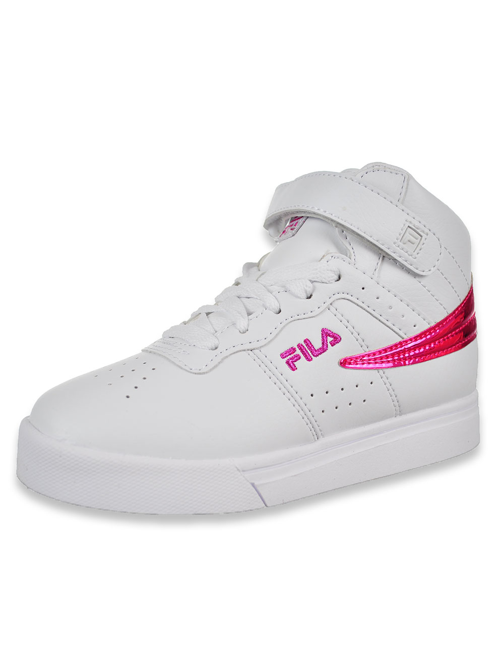 Girls' Vulc 13 Chrome Hi Top Sneakers by Fila in White