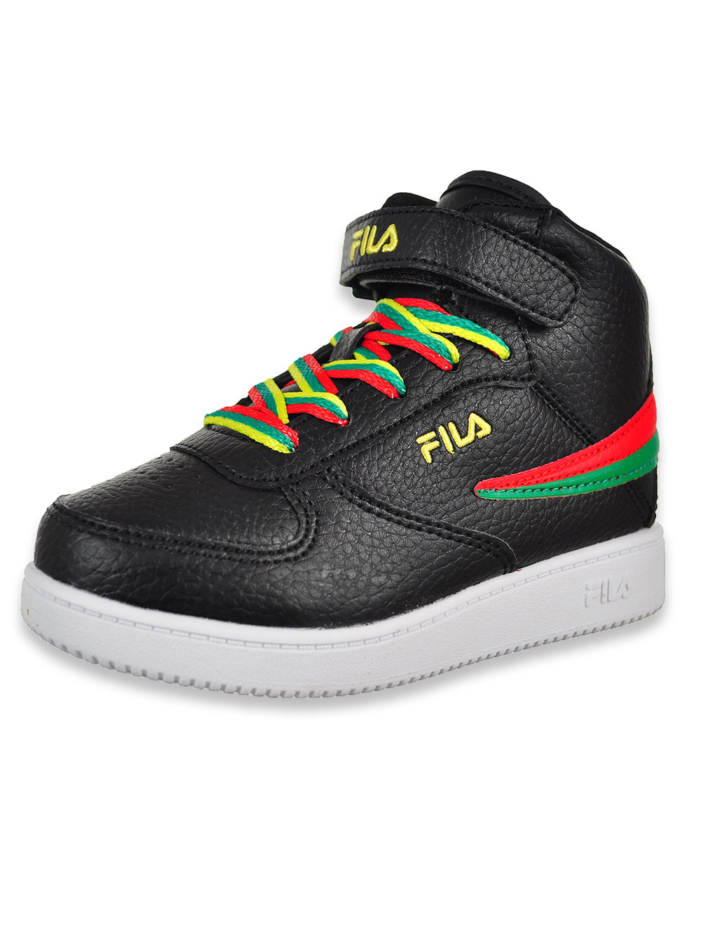 Boys' A High Hi Top Sneakers by Fila in Blackred