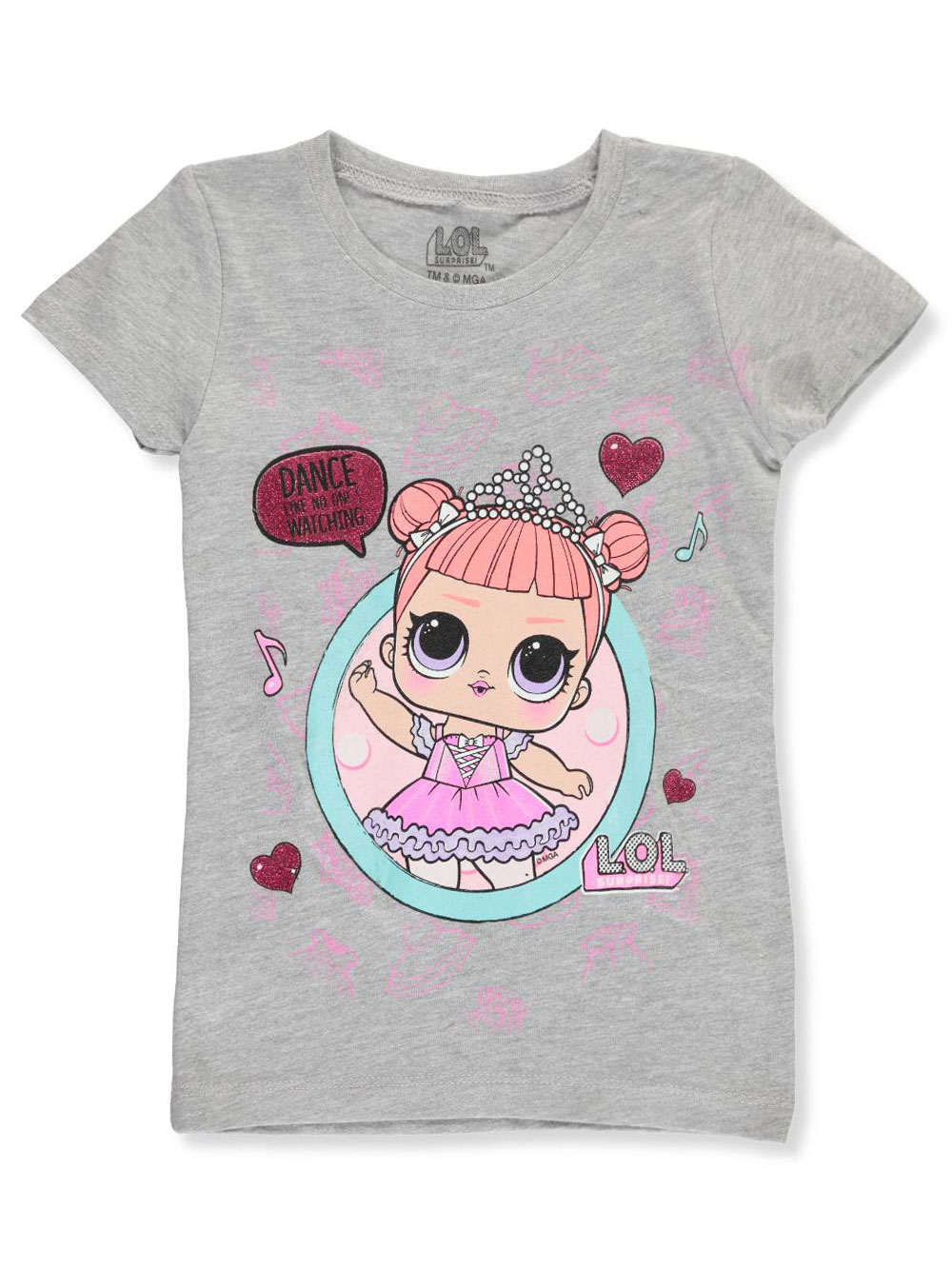 Girls Gray Multicolor T-Shirts