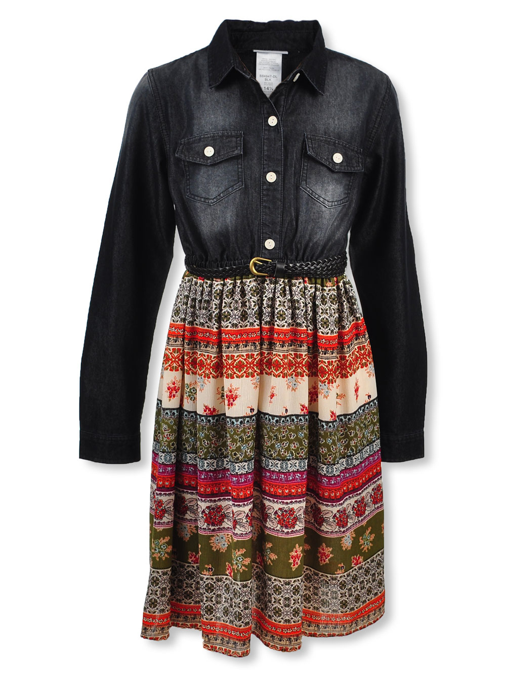 Plus Size Floral Blocked Belted Dress by Bonnie Jean in Black