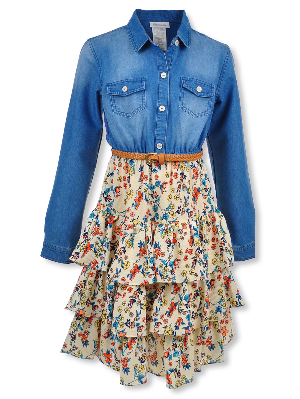 Plus Size Chambray & Layered Flounce Belted Dress by Bonnie Jean in Blue