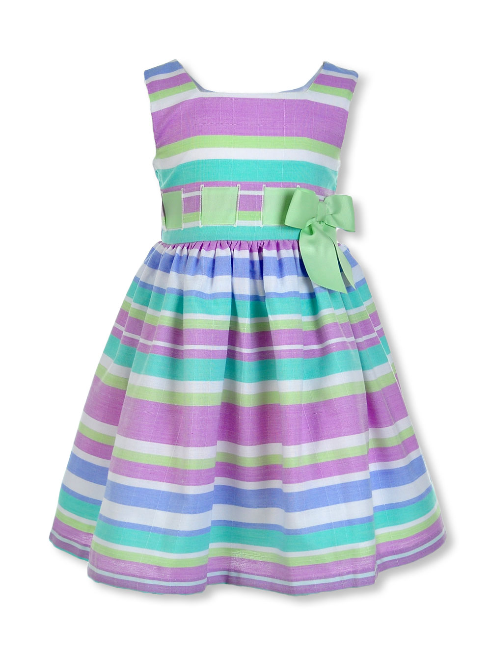 Girls' Spring Bow Linen Stripe Dress
