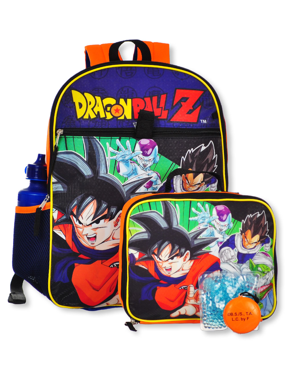 5-Piece Backpack Set by Dragon Ball Z in Blue/orange