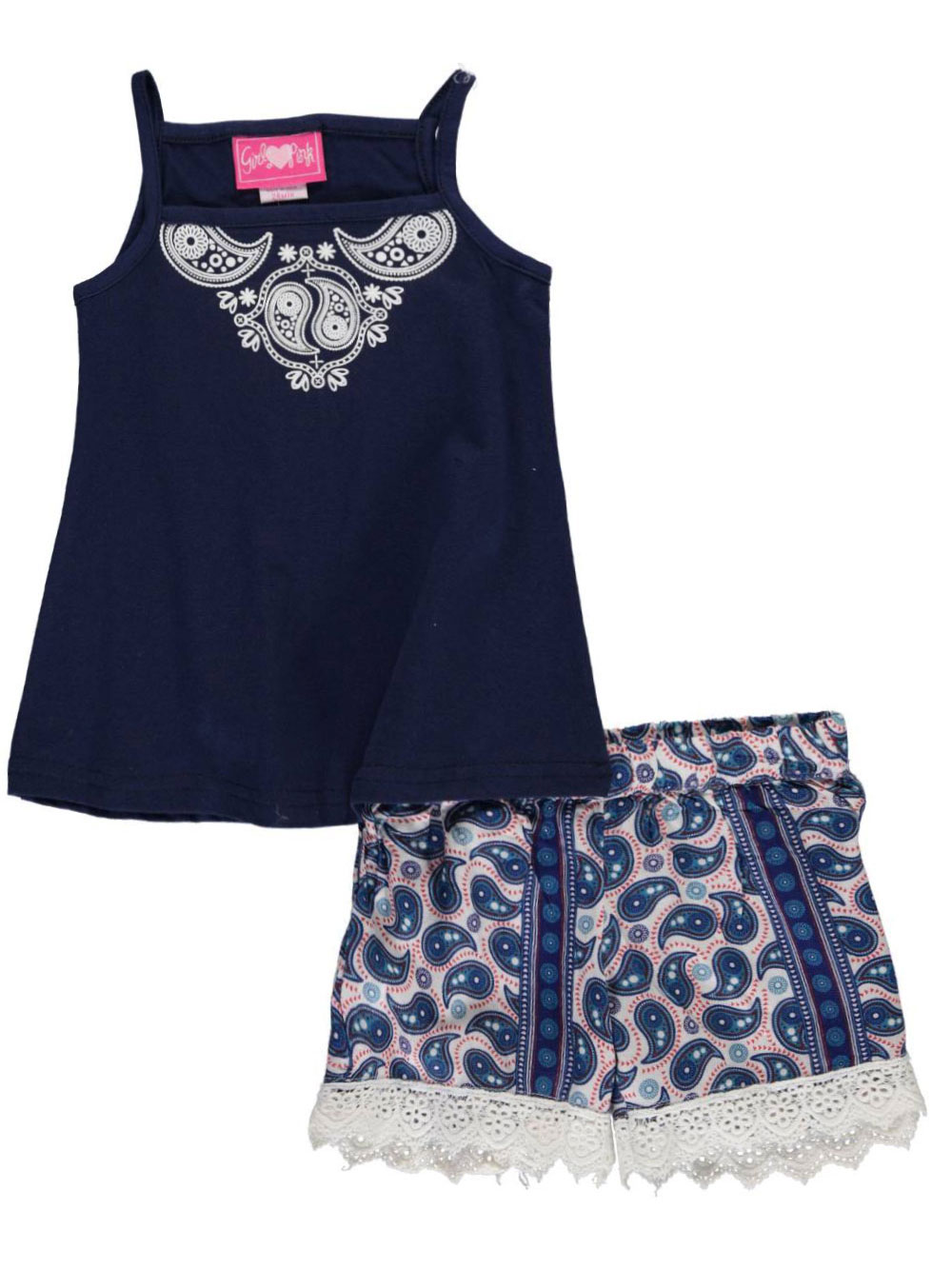 Image of Girls Luv Pink Baby Girls Paisley Swirl 2Piece Outfit  navy 18 months