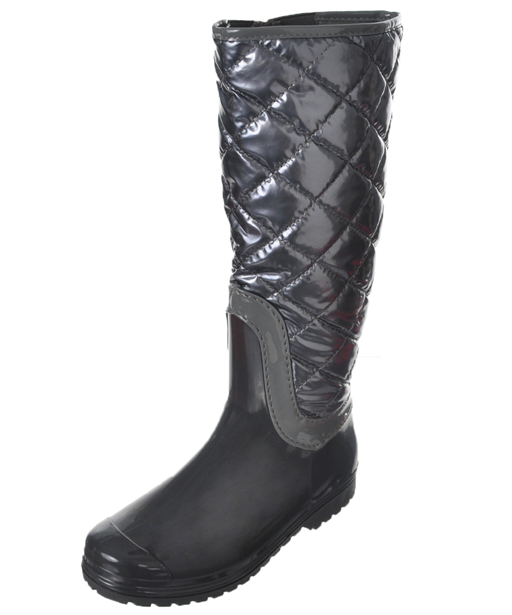 Image of Henry Ferrera Girls Quilt  Trim KneeHigh Boots Youth Sizes 12  6  gray 2 youth