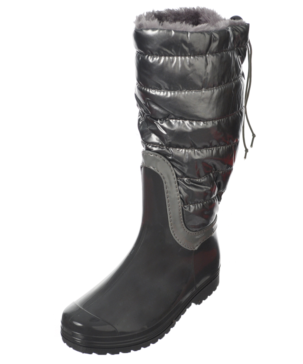 Image of Henry Ferrera Girls Fashion Baffle CalfHigh Boots Youth Sizes 12  6  gray 5 youth